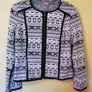 Chico's Size 1 zip up blouse /jacket white & black